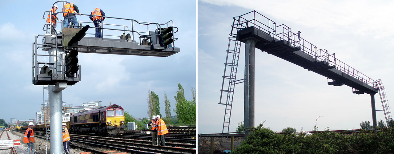 rail signal structures and gantries