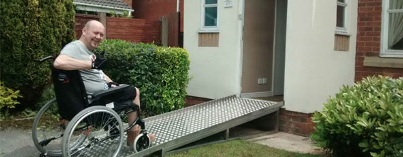 War Veteran using new stainless steel ramp