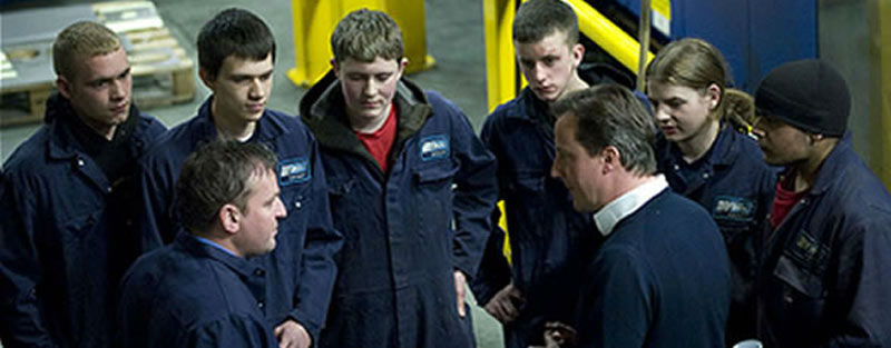 David Cameron with WEC Group apprentices