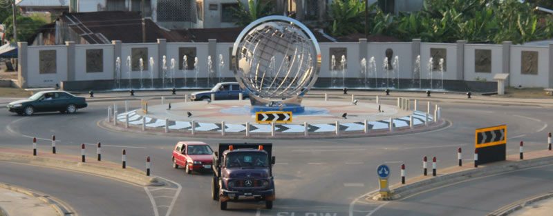 Globe sculpture on a roundabout in Uyo