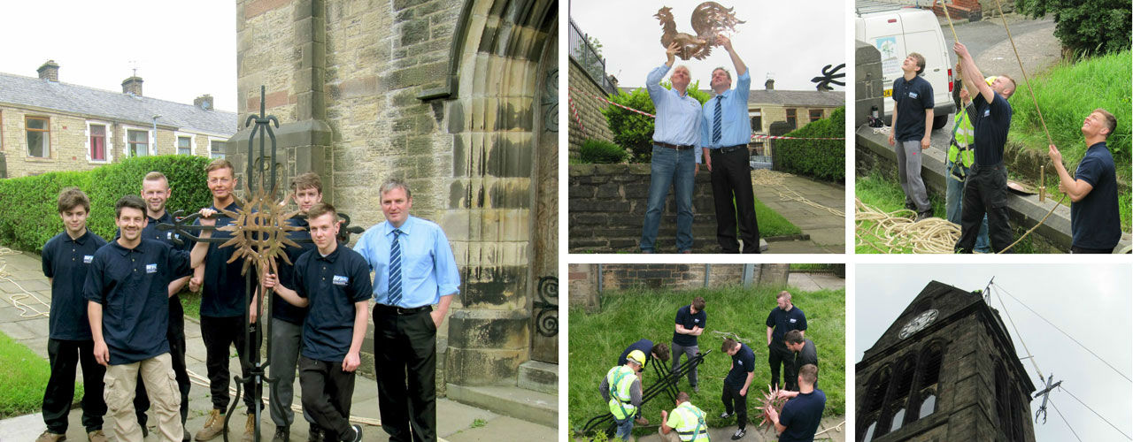 WEC Group apprentices with St Cuthberts weathervane