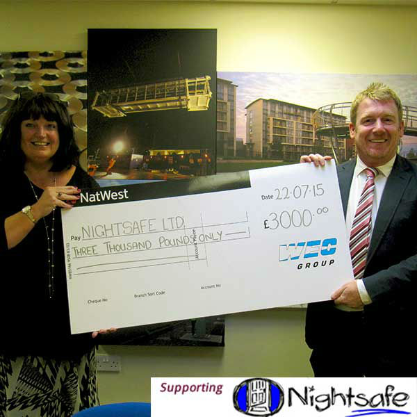 Wayne Wild handing cheque to nightsafe