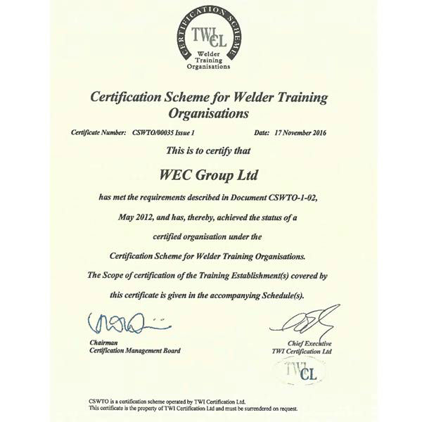The Welding Institute Welder Training Certificate